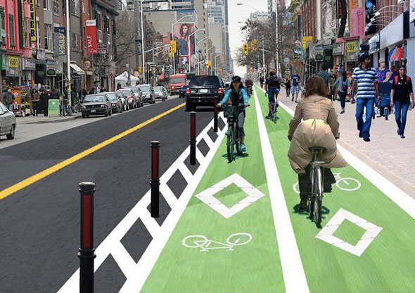 A rendering of what separated, bi-directional bike lanes would look like at Bloor and Howland/Borden.