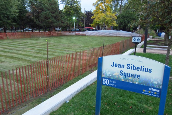 Theh west field of Sibelius Square is closed yet again for soil decompacting and re-sodding.