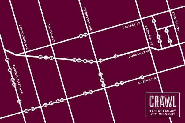 Map of vendors participating in Vintage Crawl Toronto Thursday September 26th from 7PM to midnight.