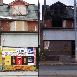 1002 Bathurst Street before and after October 7, 2013 fire