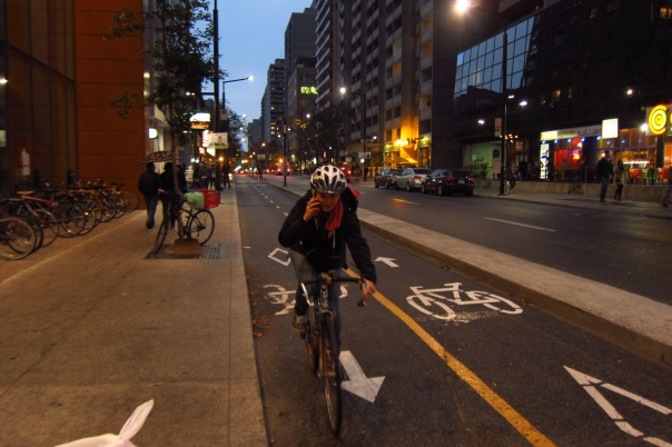 Separated_bike_lanes_Montreal_October_2013